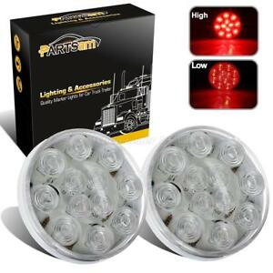 2x4 Round Surface Clear Red Marker Clearance Stop Turn Tail Brake Lights 12 Led