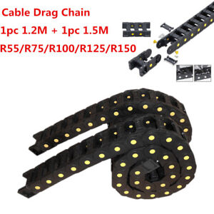 2pcs 1 5m 1 2m Cable Drag Chain 25 X 57mm Nylon66 Bridge Open Type Wire Carrier
