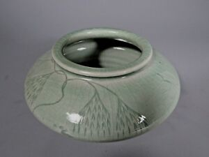 Fine Korea Korean Green Glaze Porcelain Bowl W Foliates Avian Decor Ca 20th C