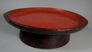 Japan Japanese Red Black Lacquer Pedestal Plate Signed On Base Ca 19 20th C