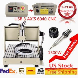 3axis Usb 6040 Cnc 1 5kw Router Engraver Milling Wood Pvc Engraving Metalworking
