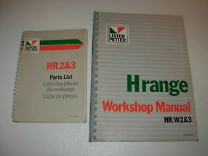Lister Petter H Range Engine Shop Parts Manuals Hr w 2 3 Cyl