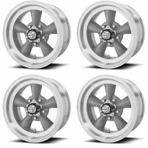 Set 4 15 Torq Thrust D Vn105d Grey Machined Lip Classic Wheels 15x7 5x4 75 6mm