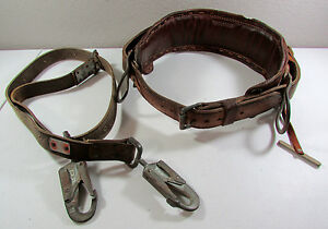 Vtg Bashlin Leather Lineman Telephone Pole Tree Climbing Harness Belt Size D26