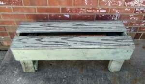 Vintage Antique Old Farm Crock Bucket Bench Chippy Green Paint 32 5x11 5x12 5