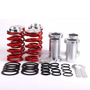 New Red Adjustable Suspension Lowering Spring Coilover Coil Over Sleeves Kit