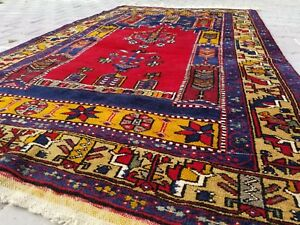 Rare Vintage 1950 1960s Wool Pile 4 1 6 9 Natural Dyes Yahyali Prayer Rug