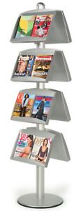 Double Sided 8 Pocket Brochure Literature Display Stand Round Base
