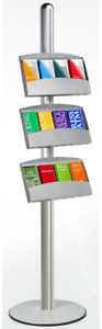 12 Pocket 3 tiered Literature Leaflet Display Stand Trays Hold 4 X 9 Brochures