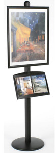 Black 22 X 28 Poster Display Stand Snap Open Frame Literature Magazine Tray