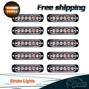 10pcs Amber white 6 Led Warning Strobe Flashing Vehicle Light Flash Emergency