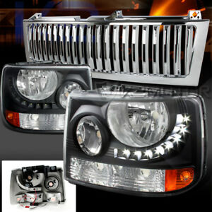Chevy 99 02 Silverado 1500 2500 Black Smd Led Headlights chrome Vertical Grille