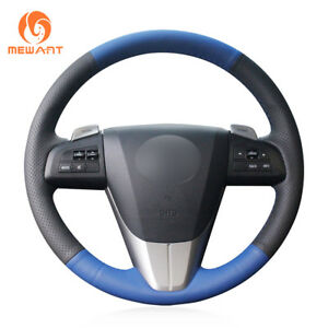 Mewant Black Blue Leather Steering Wheel Cover For 2011 2013 Mazda 3 Mazda Cx7
