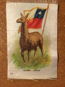Vintage Tobacco Cigarette Silk Animals Flag Llama Chile 13 Use In Crazy Quilt
