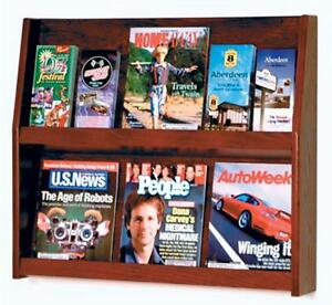 6 Pocket 2 Tier Wood Wall Magazine Literature Brochure Display Mahogany