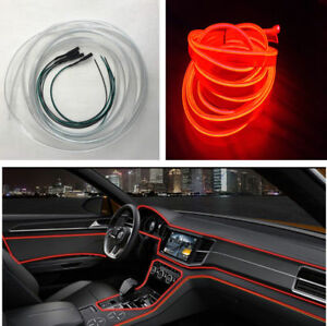 Diy 4m Auto Car Red Led Interior Ambient Light Decoration Optical Fiber Lamp 12v