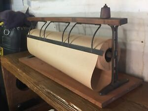 Vintage Paper Cutter Roll Holder Dispenser Iron Butcher Craft Wrapping
