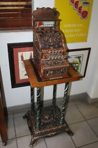 Early 1900s National Cash Register Mod 211 Brass Candy Register W Stand
