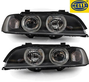 Black Finish Projector Headlights Pair For Bmw E39 Facelift Headlights Hella
