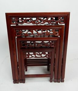 Gorgeous Set Of 4 Chinese Intricately Carved Rose Wood Nesting Tables 20