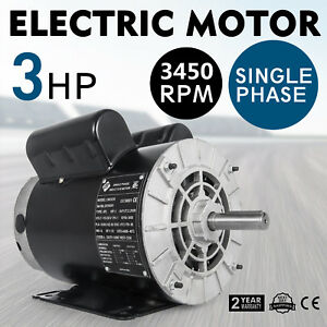 Cm03256 Electric Motor 3 Hp 1 Phase 3450rpm 5 8shaft Ccw Small Shop Compressor