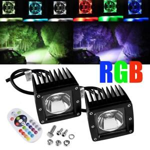 3 Led Work Rock Light Bar Pods Rgb Strobe Color Changing Driving Offroad Truck