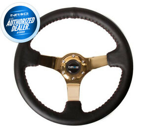 New Nrg Deep Dish Steering Wheel Black Leather Red Stitch Gold Center Rst 036cg