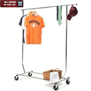 250lbs Heavy Duty Commercial Clothing Garment Rolling Collapsible Rack Chrome Us