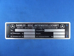 Mercedes Benz Id Plate Tag For Many Models 1953 To 62 190sl 220s 300sl German