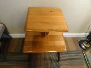 Mid Century Walnut Two Tiered End Side Table Nightstand Danish Cocktail Stand