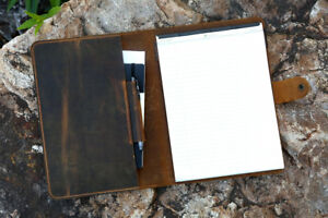 Leather Portfolio Folder Document For Letter Size 8 5 X 11 75 Top Open Pad
