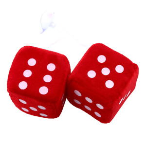 Pair Red Fuzzy Dice Dots Rear View Mirror Hangers Vintage Car Auto Accessories