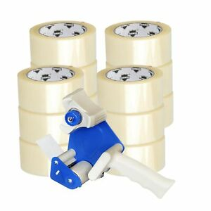 12 Rolls Carton Sealing Clear Packing shipping tape 2 X 100 Yards Dispenser