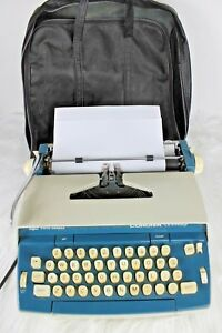 Vintage 70s Smith Corona Seventy Electric Typewriter Series 6e Blue Cream Works