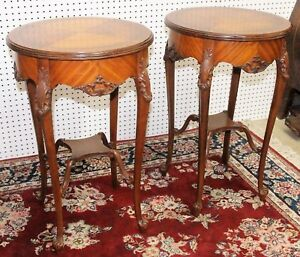 Antique Pair Carved French Round Side Table Circa 1900