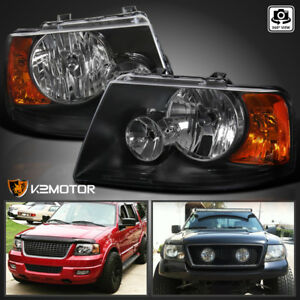 2003 2006 Ford Expedition Black Replacement Headlights Head Lamps Left right