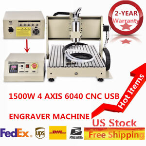 4axis Cnc 6040t Router Engraving Drilling Milliing Machine Ball screw Pvc Wood