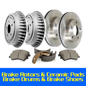 Front Brake Rotors ceramic Pads Rear Brake Drums shoes Fits Chevy C10 Suburban