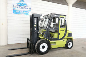 Clark 8 000 Diesel Pneumatic Tire Forklift Three Stage Sideshift Cab