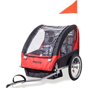 Merax 2 in 1 Collapsible 2 seater Double Child Bicycle Trailer Red