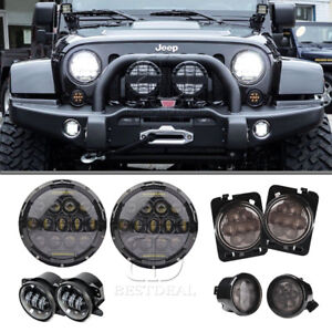7 Led Headlight foglight turn Signal Blinker Light side Marker Kit For Jeep Jk