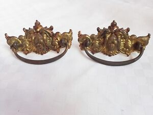 2 Antique Brass Lion Head Dresser Bureau Drawer Pulls Handles
