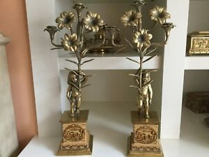 Pair Of Antique Bronze Candelabras With Cherubs Early 20 Century