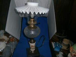 Vintage Hand Painted Victorian Converted Oil Lamp With Petticoat Shade