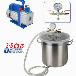 5 Gallon Stainless Steel Vacuum Degassing Chamber Kit W 5 Cfm Pump Hose Farm Usa