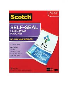 Scotch Self sealing Laminating Pouches 25 Sheets 9 0 In X 11 5 In Gloss