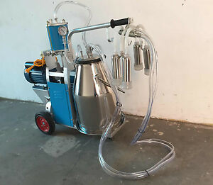 Electric Piston Type Milking Machine With 25l Bucket For Home Farm Cows 110v Us