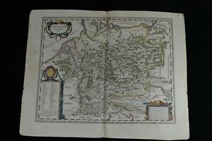 1638 Large Antique Map Germany Germaniae Veteris Typus Blaeu After A Ortelius