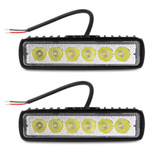 2pc 12v White Led Truck Bus Car Work Light 18w Spotlight Drl Fog Light Assembly