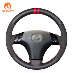 Black Leather Suede Steering Wheel Cover For Mazda 3 Mazda 6 Mazda 5 Mazdaspeed6